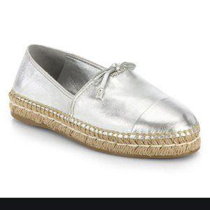 NIB Prada Silver Donna Leather Espadrille 41/9.5